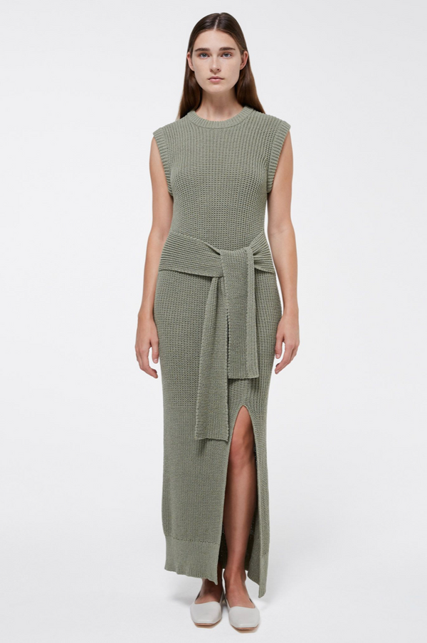 Jenae Summer Boucle Tank Dress with Tie in Sage