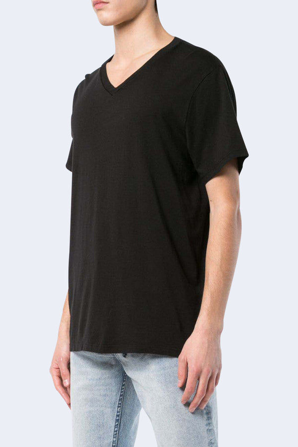 Short Sleeve Supima V-Neck Tee in Black