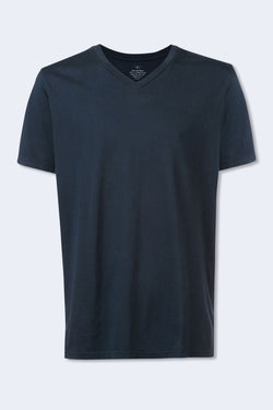Short Sleeve Supima V-Neck Tee in Navy