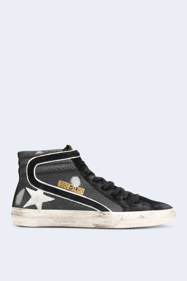 Men's Slide Sneakers in Black Crack with White Star
