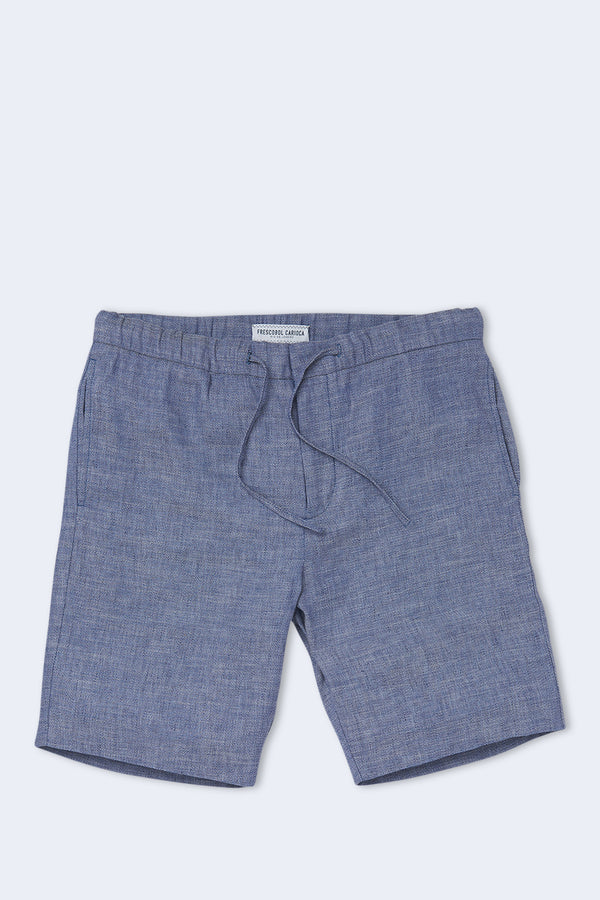 Sport Linen Shorts in Melange Navy Blue