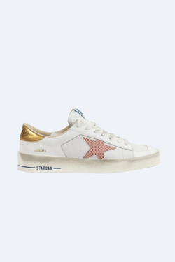 Men's Stardan Sneakers in White Leather Two Color Star