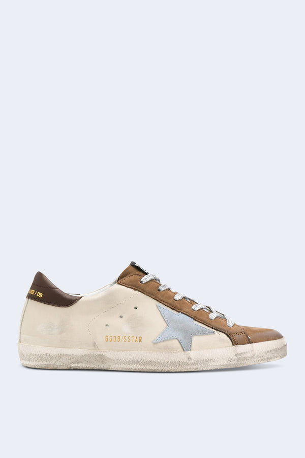 Women's Superstar Sneakers in Beige Brown and Light Blue Star
