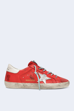 Women's Superstar Sneakers in Cherry Leather with Silver Star