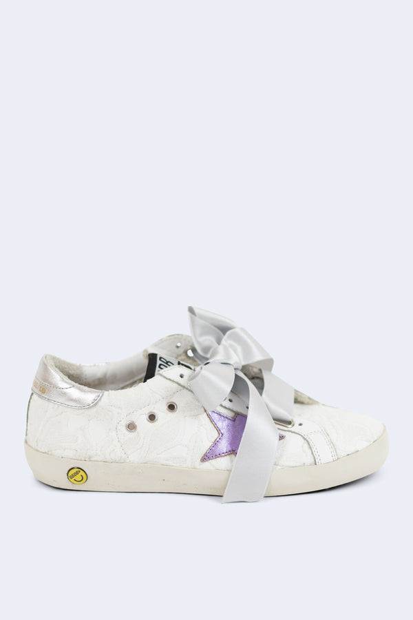Superstar White Lace Lilac Star Sneakers