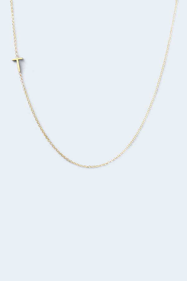 """T"" Alphabet Letter Necklace - Yellow Gold"