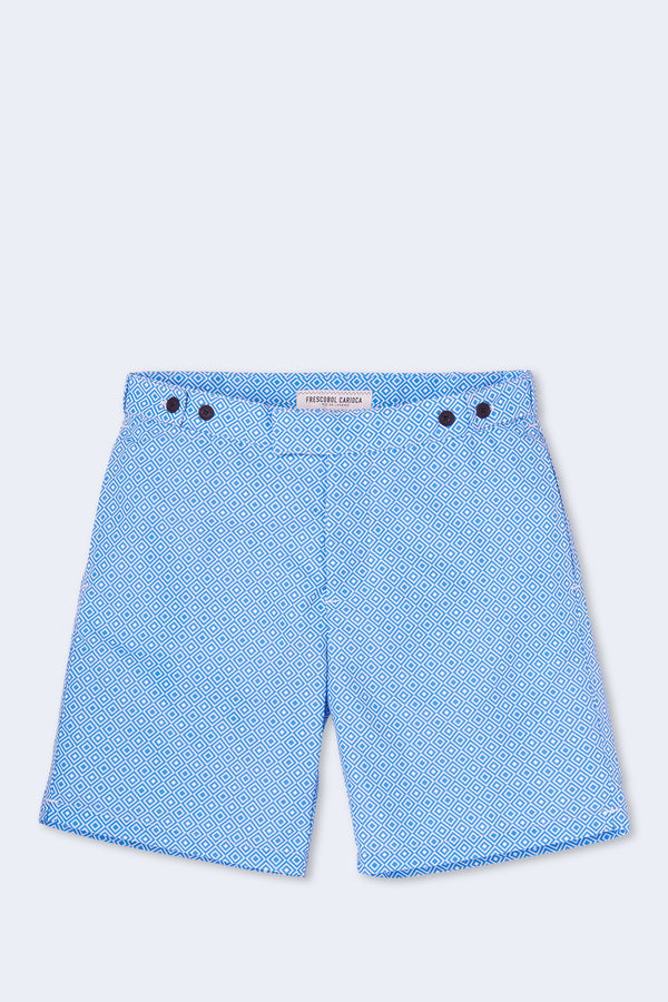 Tailored Long Angra Swim Short in Blue