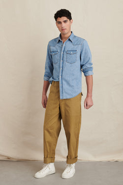 Men's Western Denim Pocket Shirt in Vintage Wash