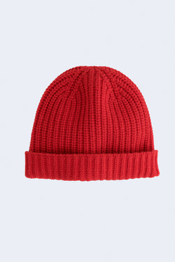 Cashmere Solid Beanie in Red