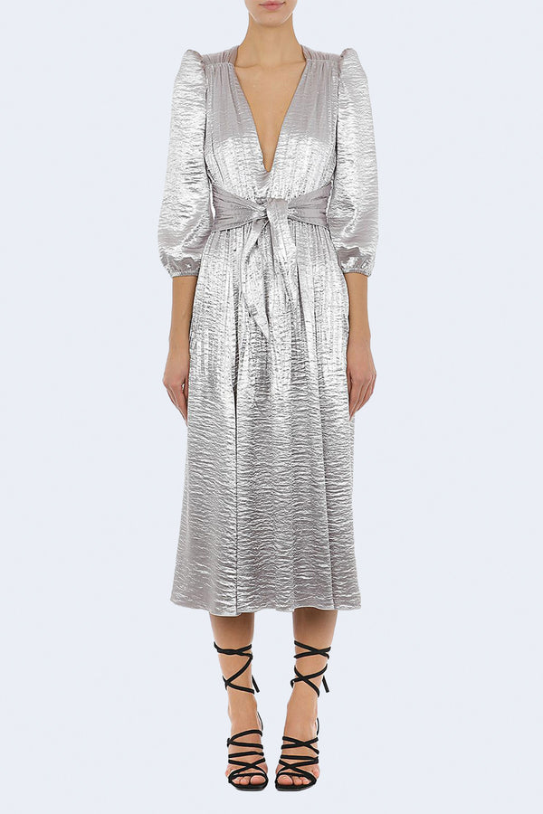 Metallic V-Neck Long Sleeve Dress in Grey