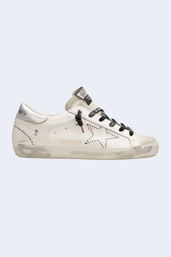 Women's Super-Star Leather Upper Dotted Star Laminated Heel in Ice White Silver