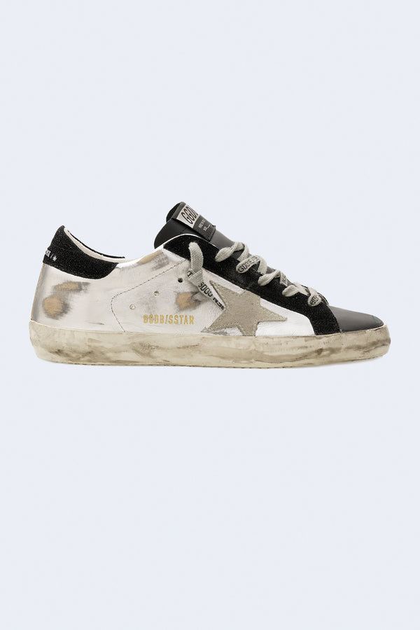 Women's Super-Star Laminated Upper Suede Star and Heel Sneaker in Silver Black Ice