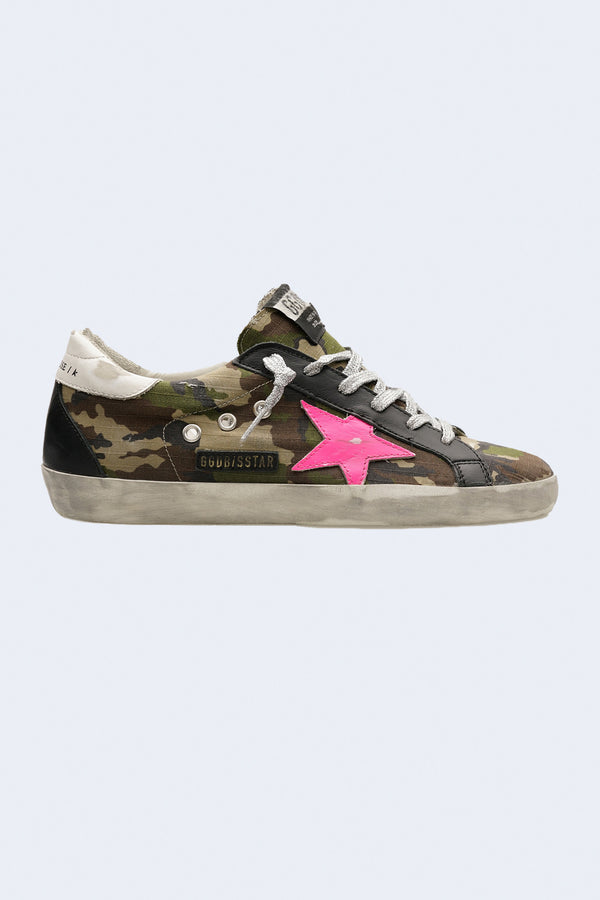 Women's Super-Star Camouflage Ripstop Upper Leather Star Sneaker in Green Camouflage
