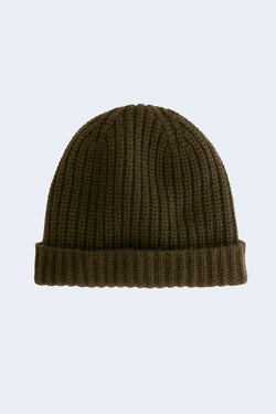 Cashmere Solid Beanie in Heather Olive