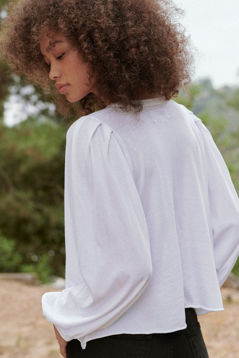 The Cropped Pleat Sleeve Tee in True White
