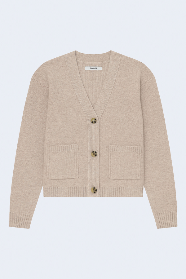 Cropped Wool Cardigan in Heather Oatmeal