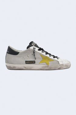 Men's Super-Star Net Suede Leather Sneaker in Light Silver Yellow