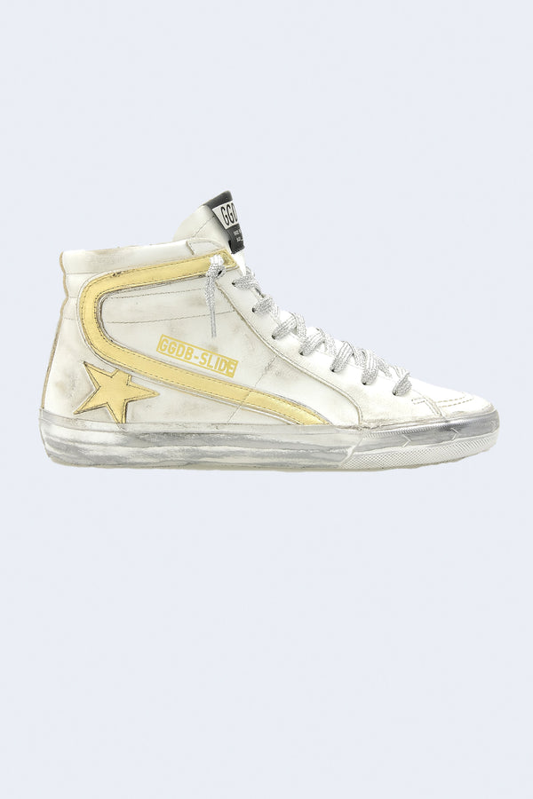 Women's Slide Leather Upper Laminated Star and Wave Sparkle Sneaker in White Gold Silver