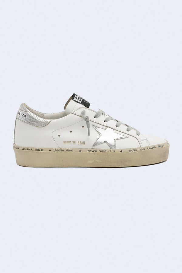Women's Hi Star Leather Upper Laminated Star and Heel Sneaker in White Silver