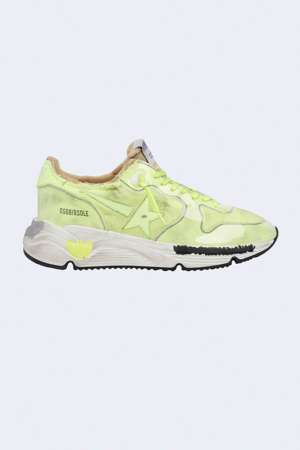 Men's Running Sole Canvas Sneakers in Neon Yellow