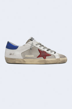 Men's Super Star Net Leather Nabuk Star Sneakers in Silver White Red Blue