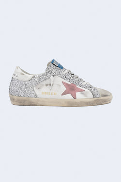 Women's Super-Star Leather and Glitter Upper Suede Star Sneakers in Ice White Silver Pink