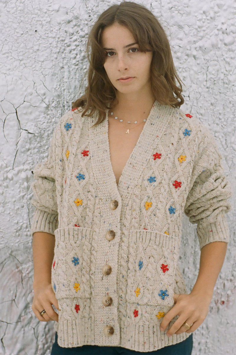 Cable Knit Cardigan with Flower Embroidery in Speckled Natural