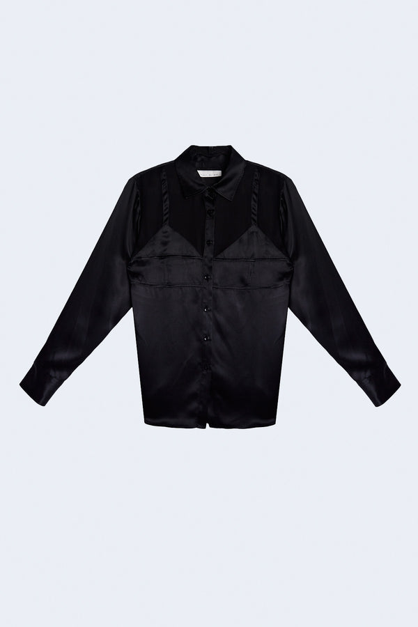 Silk Bra Detail Shirt in Black