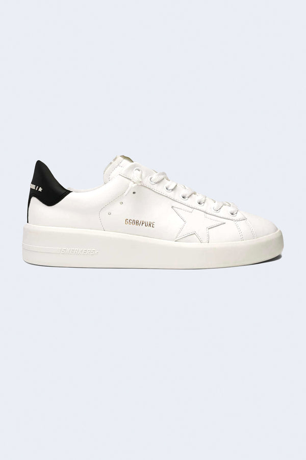 Men's Pure Star Leather Upper Sneakers in White and Black
