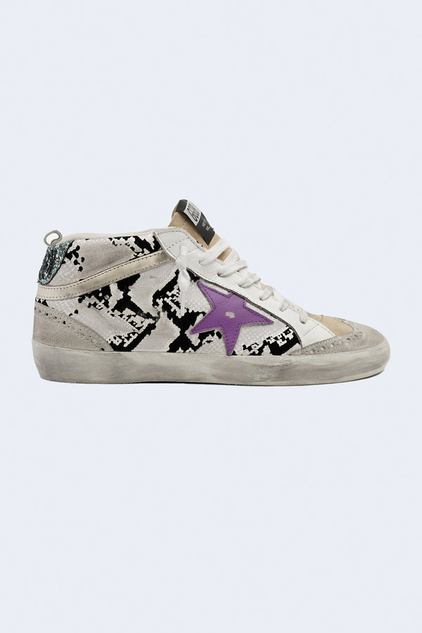 Women's Mid Star Flock Snake Upper Leather Star Laminated Wave Sneaker in Grey Phyton Ice Cappuccino