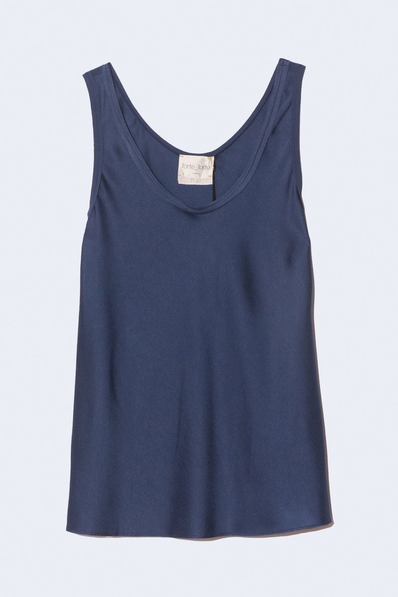 Viscose Crepe Envers Satin Sleeveless Top in Blue
