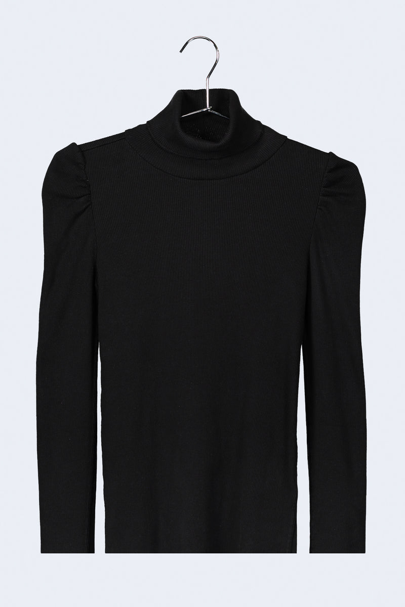 Puff Sleeve Turtle Neck in Black
