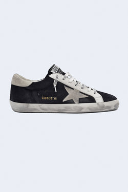 Men's Super-Star Suede Sneakers in Night Blue Ice White