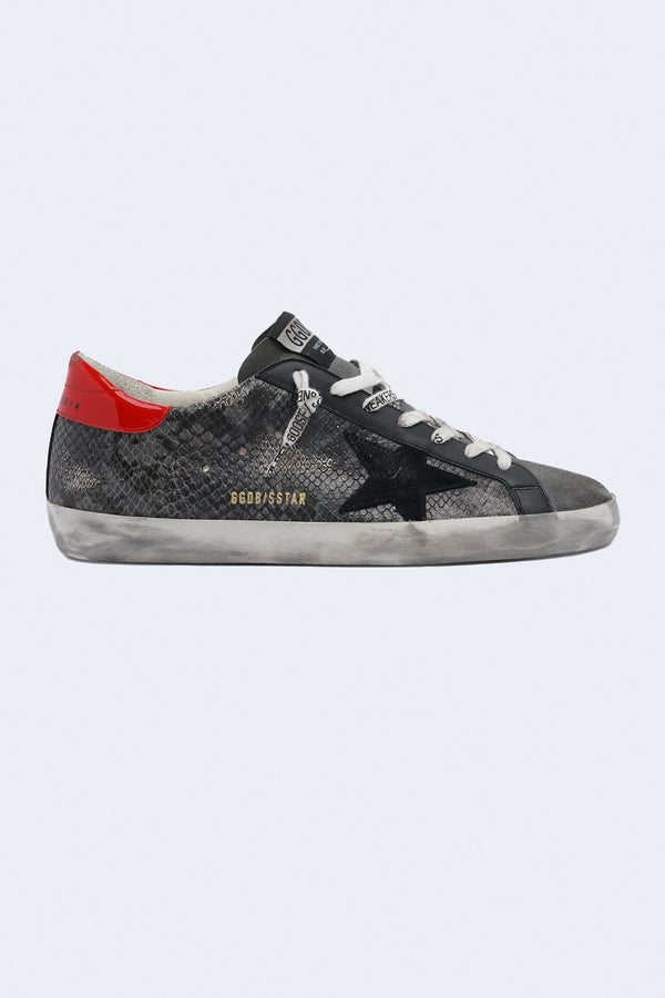 Men's Super-Star Phyton Print Suede Sneakers in Grey Phyton