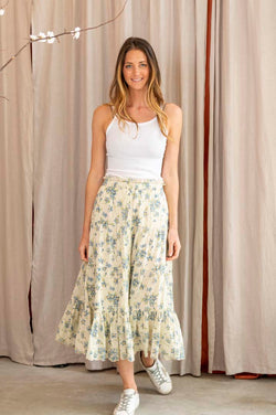 The Button Up Tier Skirt in Blue Bonnet Floral