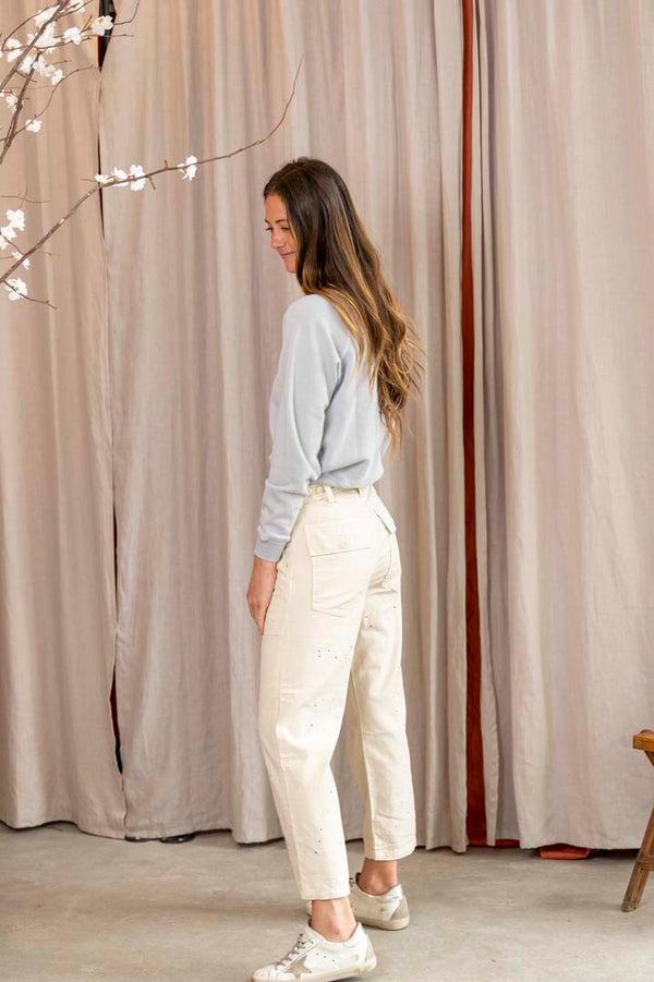The Vintage Army Pant in Cream with Paint