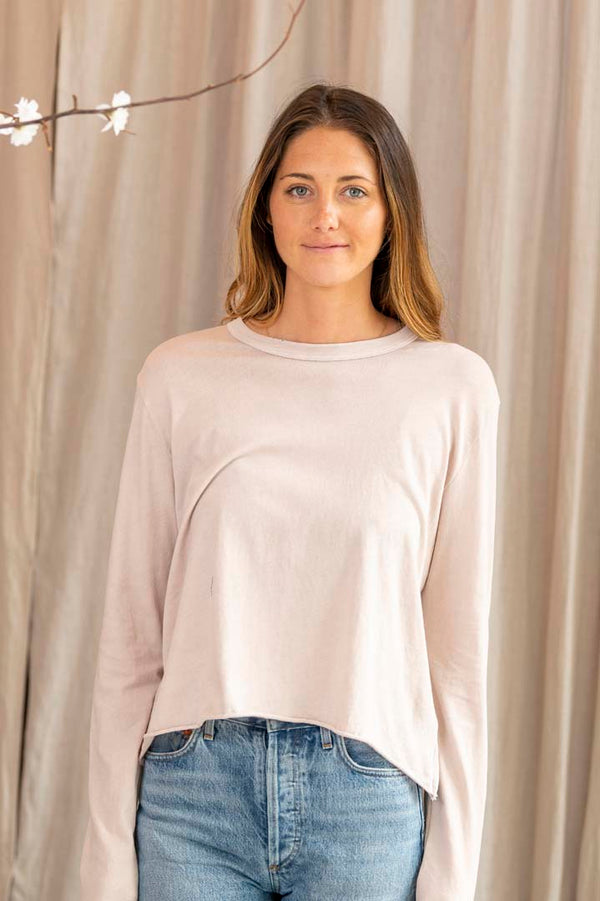 The Long Sleeve Crop Tee in Cloud Pink