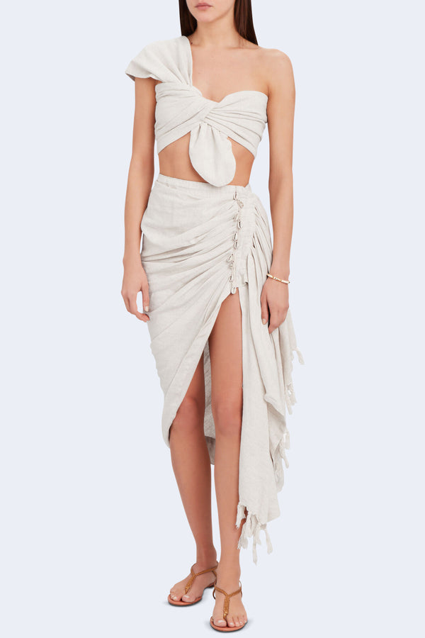 Tulum Sarong Skirt in Oatmeal