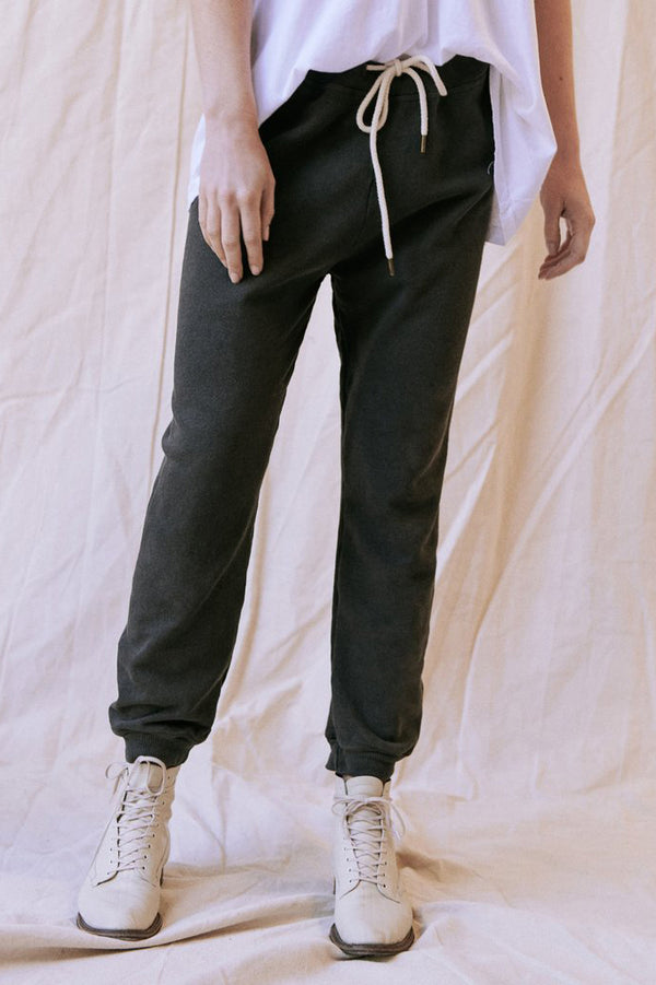 The Cropped Sweatpant in Washed Black