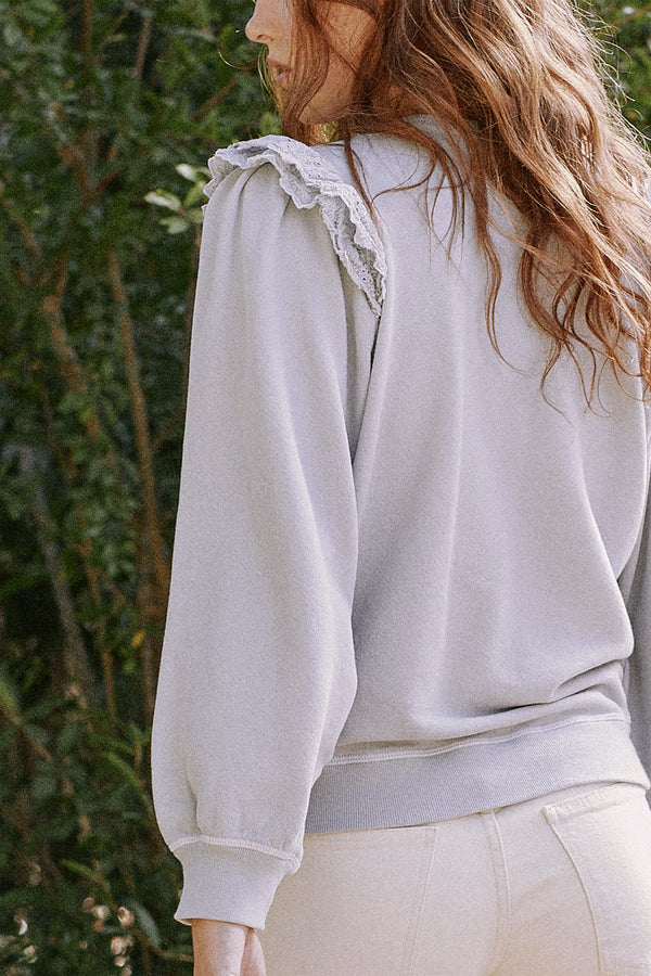 The Eyelet Pleat Sleeve Sweatshirt in Prairie Sky