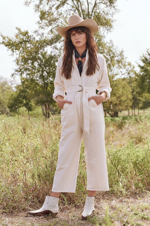 The Herringbone Roundtop Jumpsuit in Cream