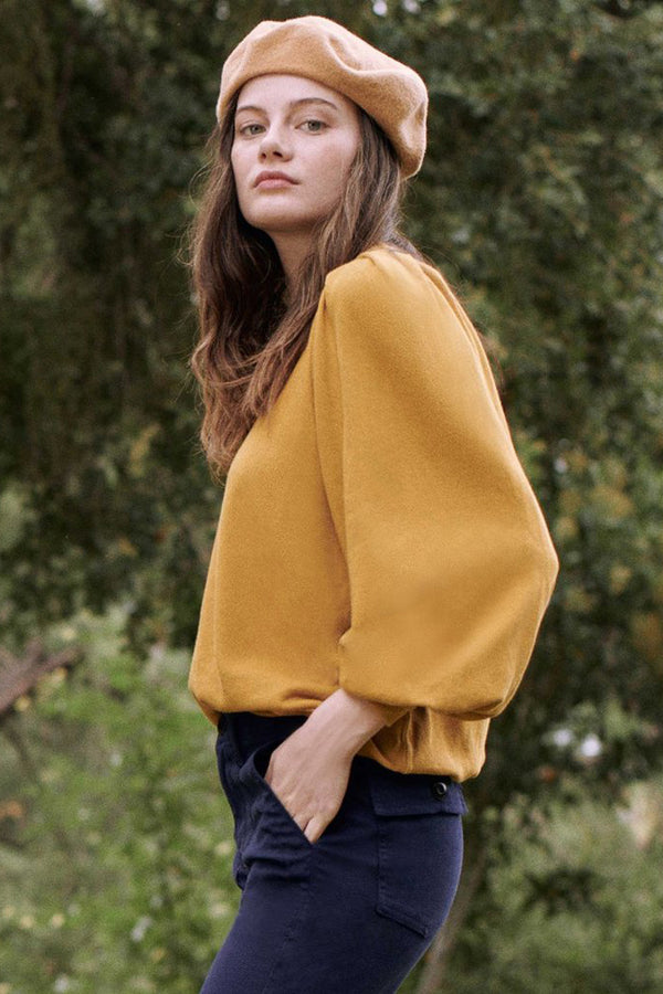 The Pleat Sleeve Sweatshirt in Butterscotch