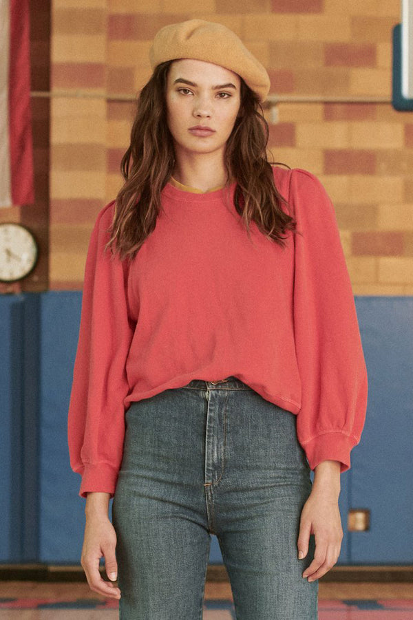 The Pleat Sleeve Sweatshirt in Candy Apple