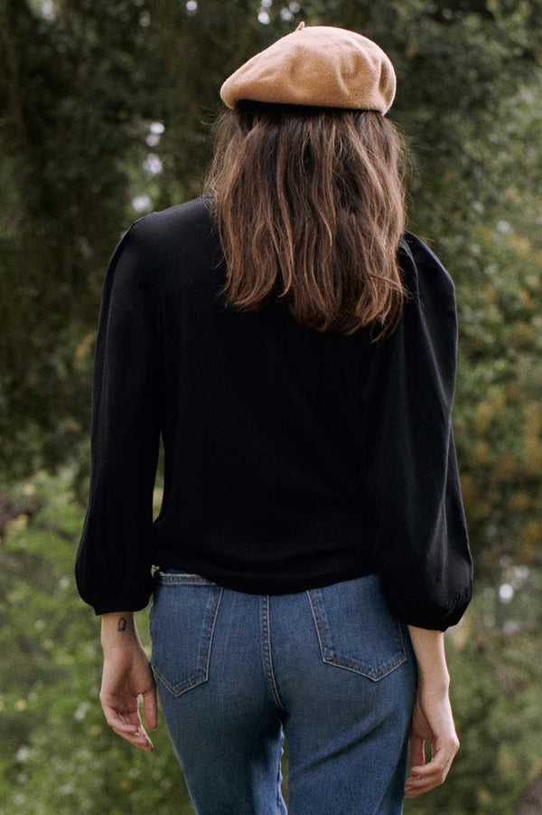 The Pleat Sleeve Tee in Almost Black
