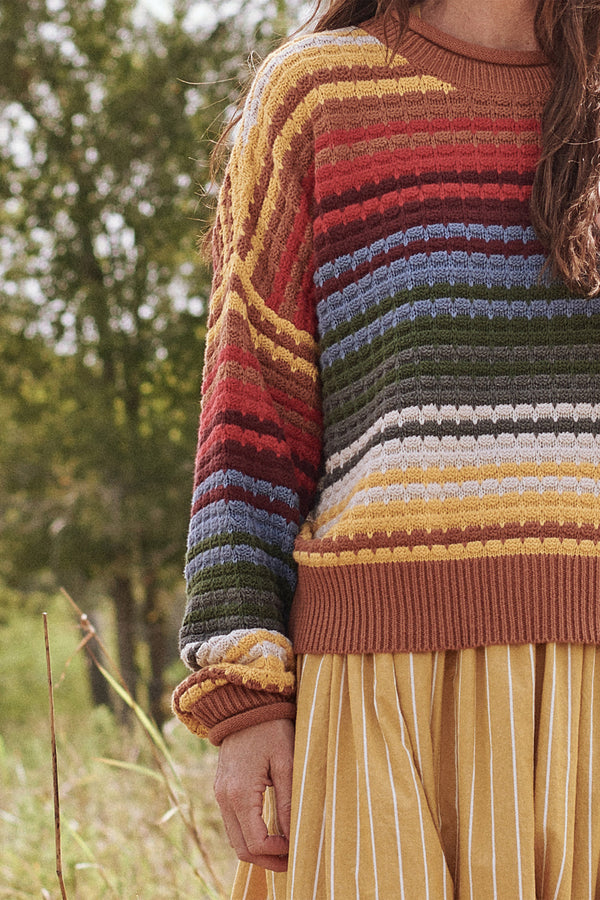 The Savanna Sweater in Vista Stripe
