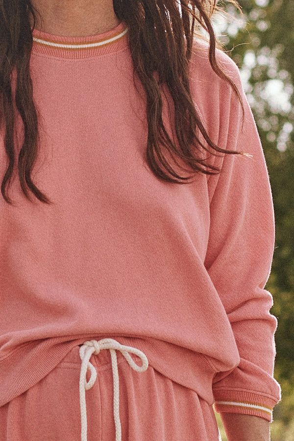The Striped Rib Shrunken Sweatshirt in Dark Victorian Rose