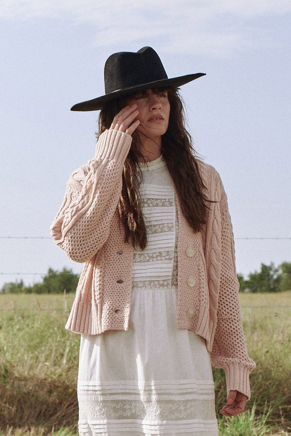The Cable Montana Cardigan in Soft Pink