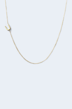 """U"" Alphabet Letter Necklace - Yellow Gold"