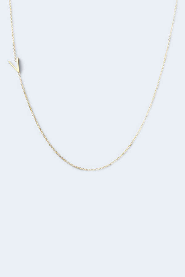 """V"" Alphabet Letter Necklace - Yellow Gold"
