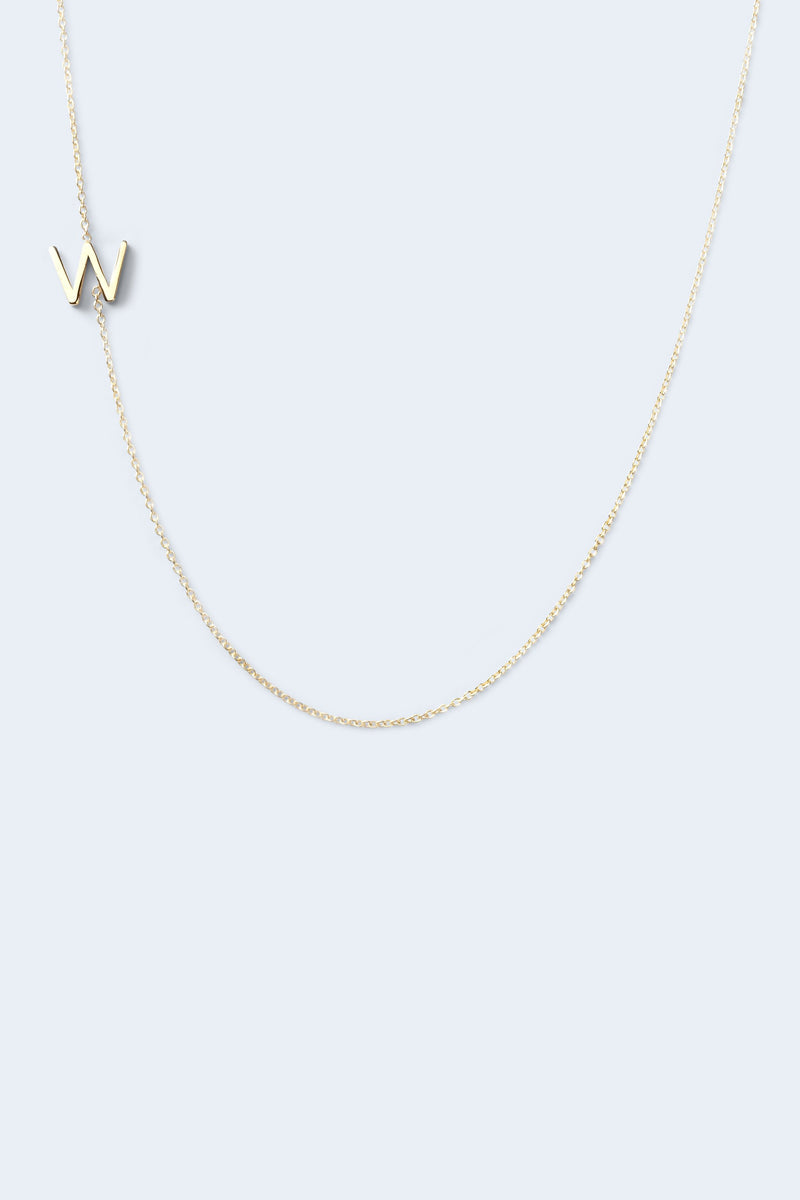 """W"" Alphabet Letter Necklace - Yellow Gold"